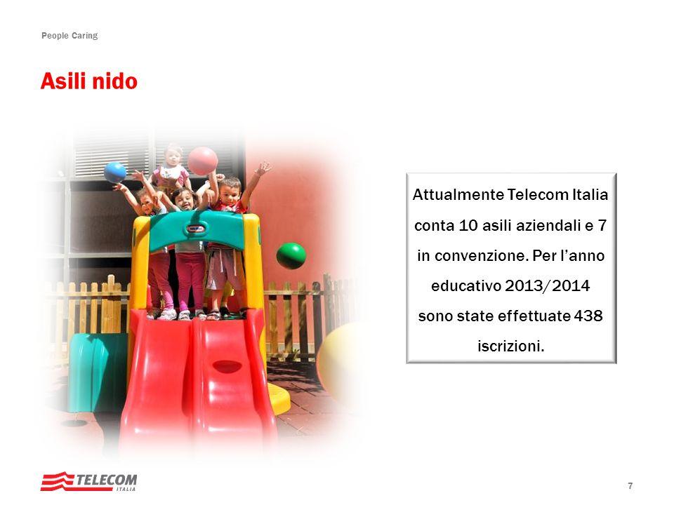 People Caring 7 Attualmente Telecom Italia conta 10 asili aziendali e 7 in convenzione.