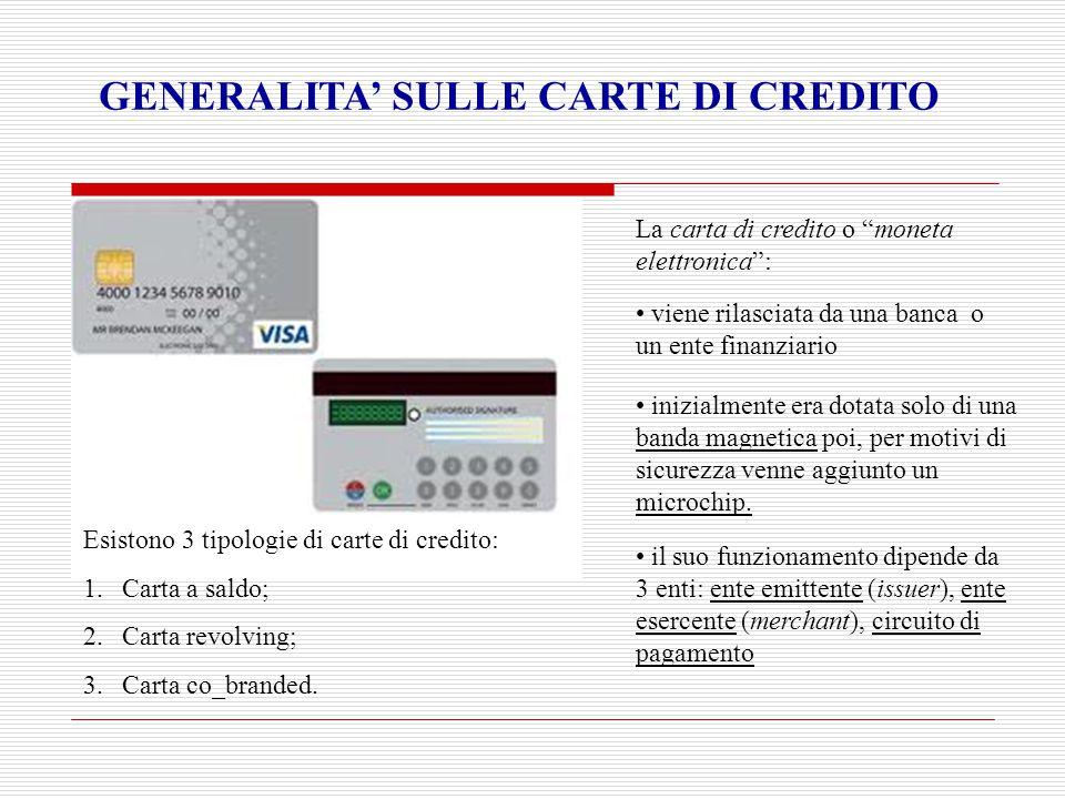 """GENERALITA' SULLE CARTE DI CREDITO La carta di credito o """"moneta elettronica"""": viene rilasciata da una banca o un ente finanziario inizialmente era do"""