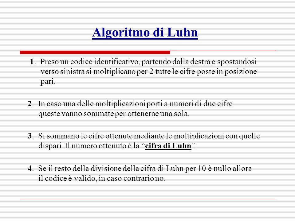 Algoritmo di Luhn 1. Preso un codice identificativo, partendo dalla destra e spostandosi verso sinistra si moltiplicano per 2 tutte le cifre poste in