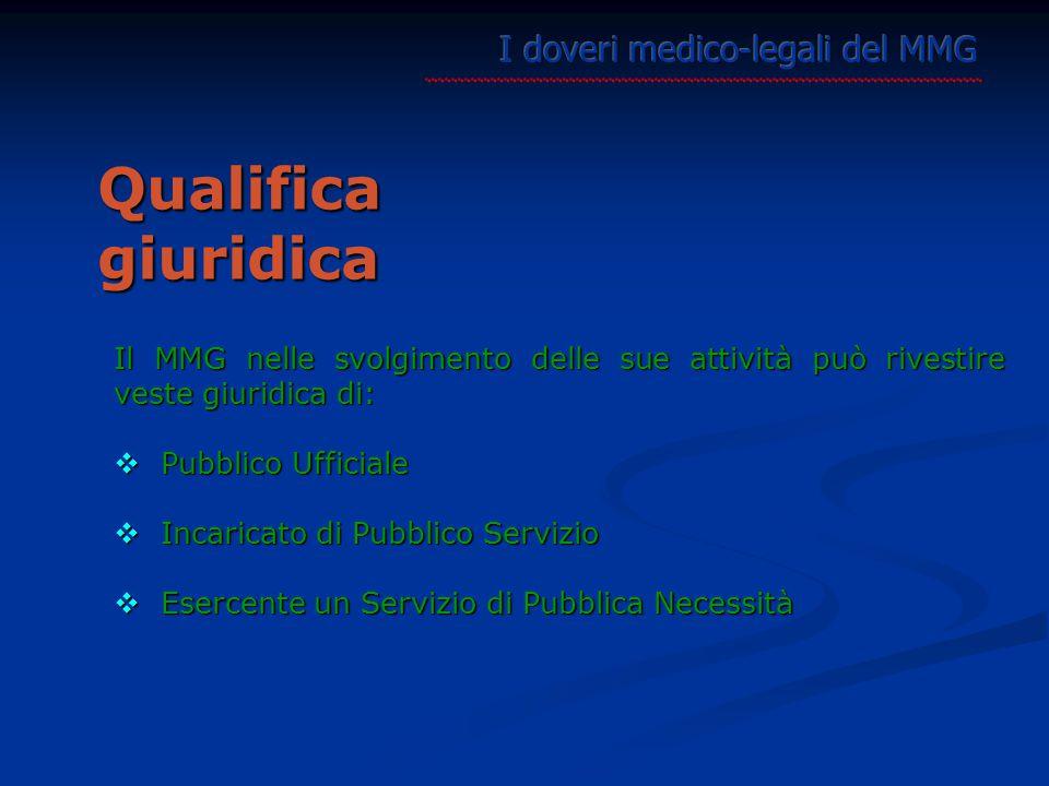 Il MMG nelle svolgimento delle sue attività può rivestire veste giuridica di:  Pubblico Ufficiale  Incaricato di Pubblico Servizio  Esercente un Servizio di Pubblica Necessità Qualifica giuridica