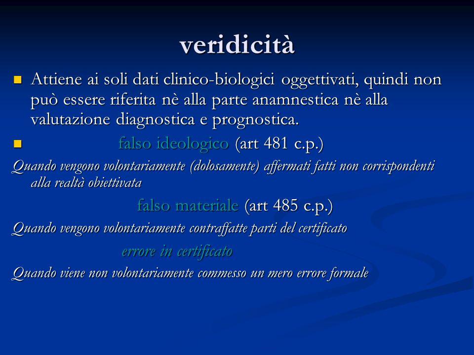 veridicità Attiene ai soli dati clinico-biologici oggettivati, quindi non può essere riferita nè alla parte anamnestica nè alla valutazione diagnostica e prognostica.