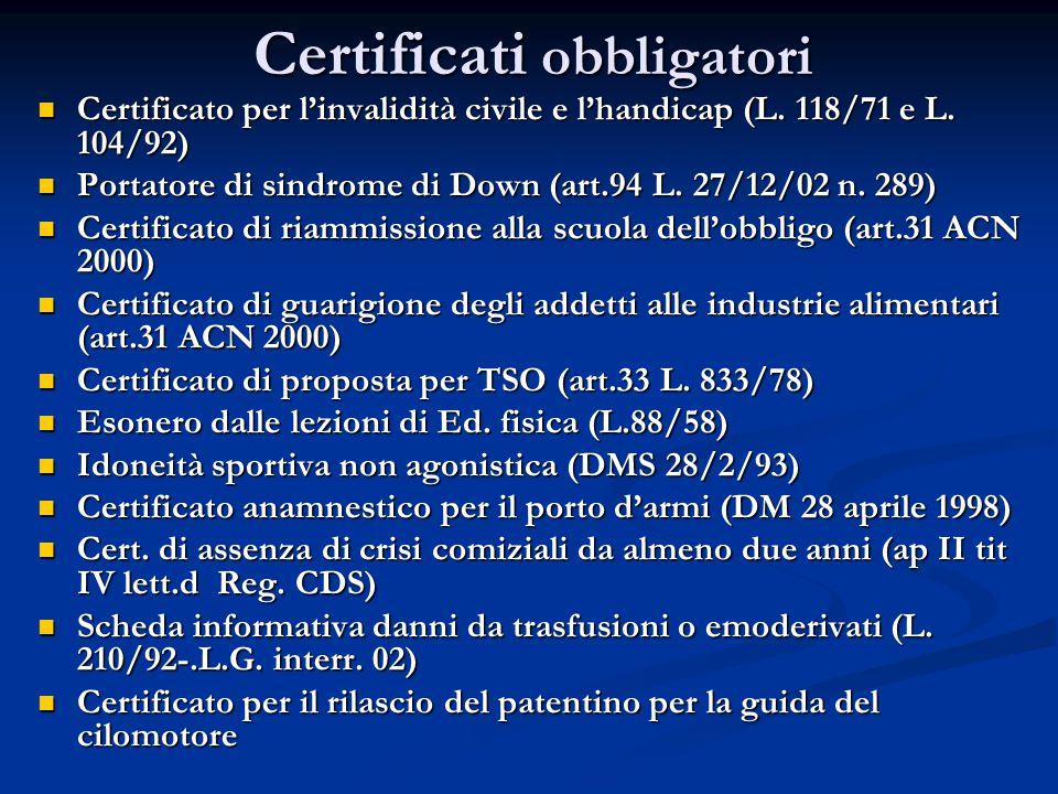 Certificati obbligatori Certificato per l'invalidità civile e l'handicap (L.