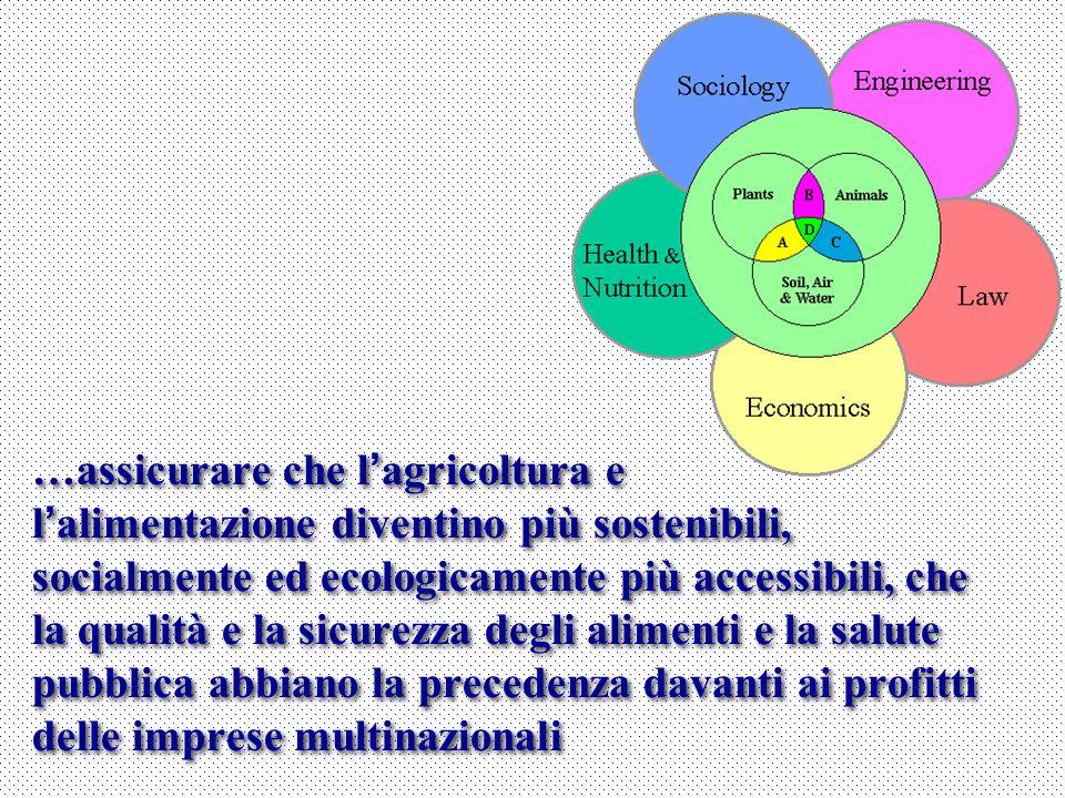 …assicurare che l'agricoltura e l'alimentazione diventino più sostenibili, socialmente ed ecologicamente più accessibili, che la qualità e la sicurezza degli alimenti e la salute pubblica abbiano la precedenza davanti ai profitti delle imprese multinazionali