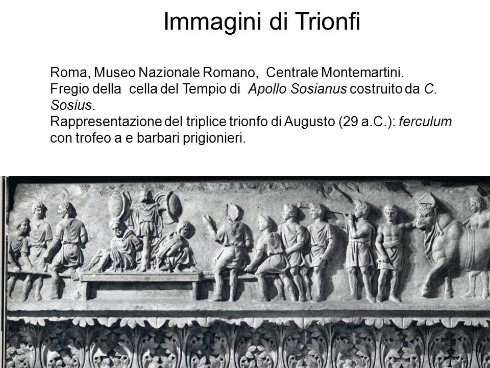 Roma, Museo Nazionale Romano, Centrale Montemartini. Fregio della cella del Tempio di Apollo Sosianus costruito da C. Sosius. Rappresentazione del tri