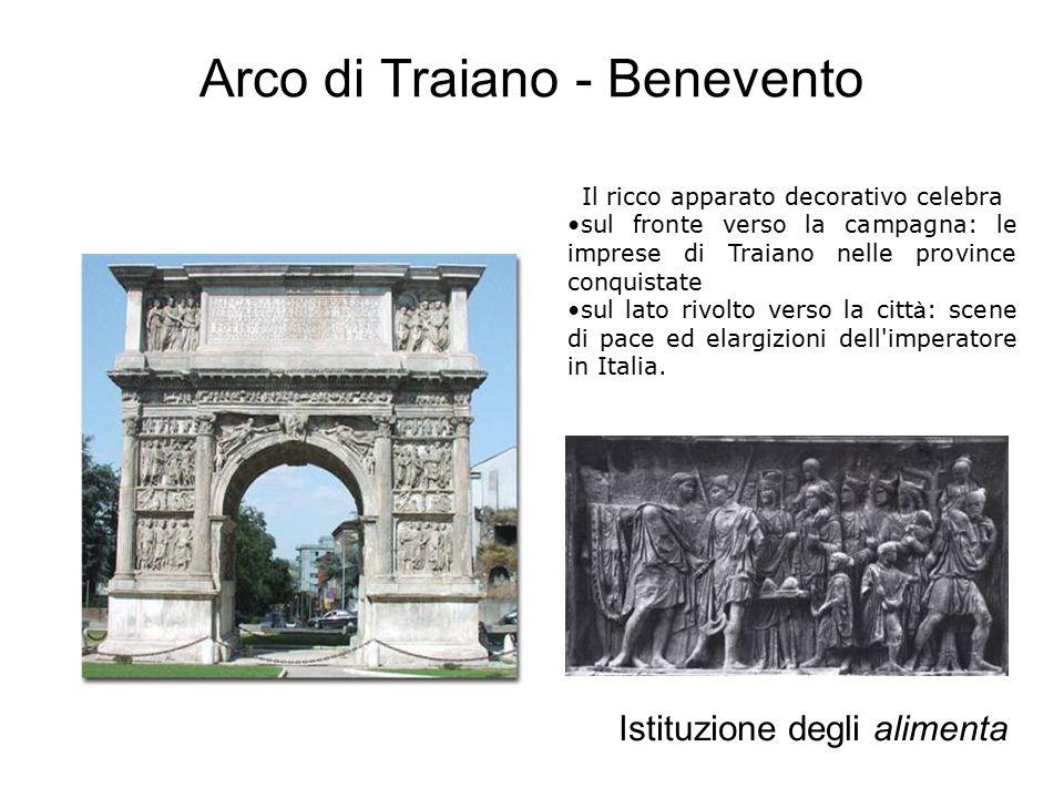 Arco di Traiano - Benevento Istituzione degli alimenta Il ricco apparato decorativo celebra sul fronte verso la campagna: le imprese di Traiano nelle