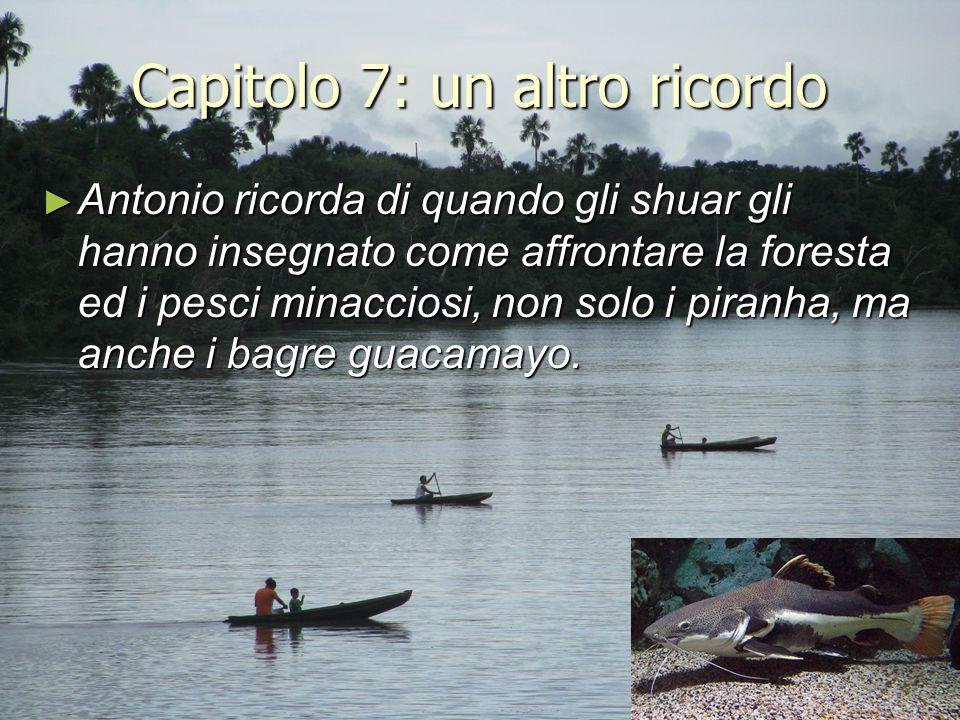 Capitolo 7: un altro ricordo ► Antonio ricorda di quando gli shuar gli hanno insegnato come affrontare la foresta ed i pesci minacciosi, non solo i pi