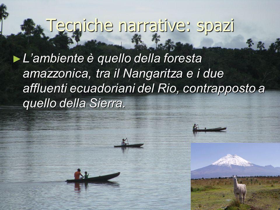 Tecniche narrative: spazi ► L'ambiente è quello della foresta amazzonica, tra il Nangaritza e i due affluenti ecuadoriani del Rio, contrapposto a quel