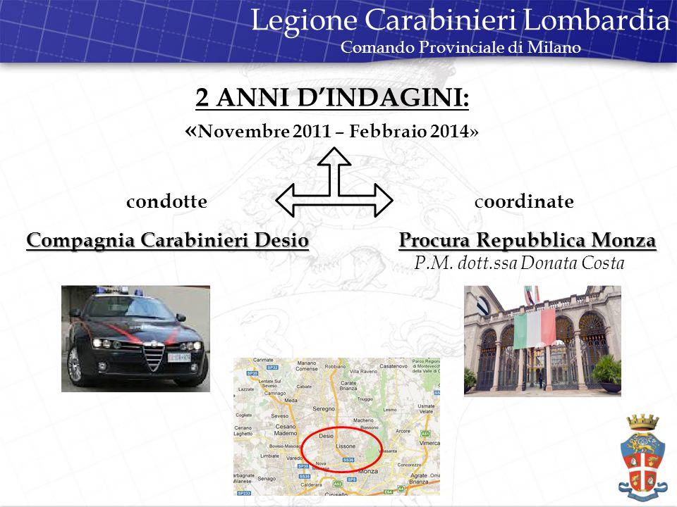 condotte Compagnia Carabinieri Desio c oordinate Procura Repubblica Monza Procura Repubblica Monza P.M.
