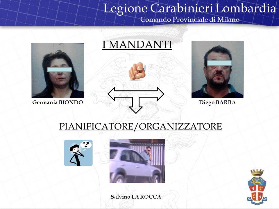 I MANDANTI Legione Carabinieri Lombardia Comando Provinciale di Milano Germania BIONDODiego BARBA PIANIFICATORE/ORGANIZZATORE Salvino LA ROCCA