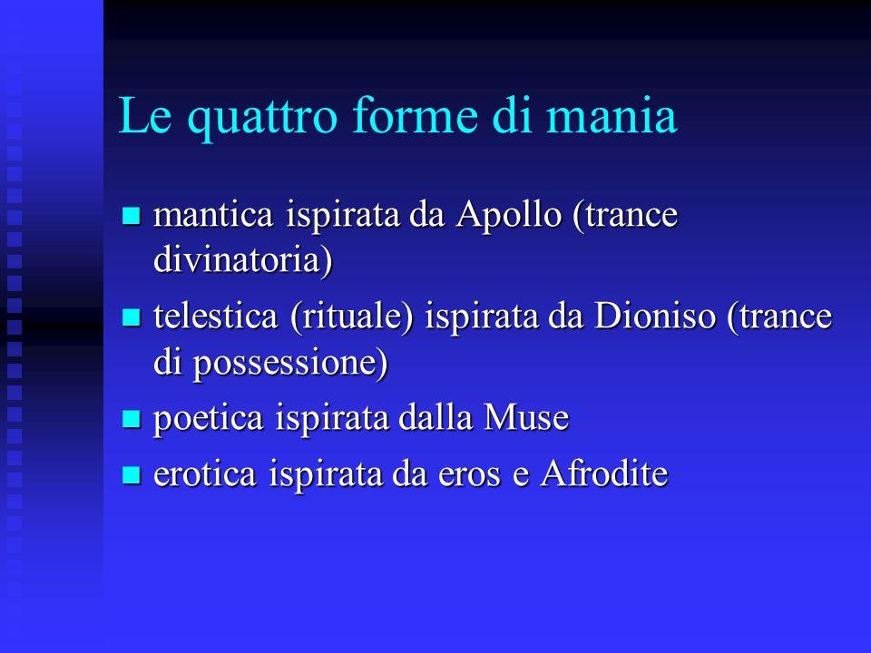 Le quattro forme di mania mantica ispirata da Apollo (trance divinatoria) mantica ispirata da Apollo (trance divinatoria) telestica (rituale) ispirata