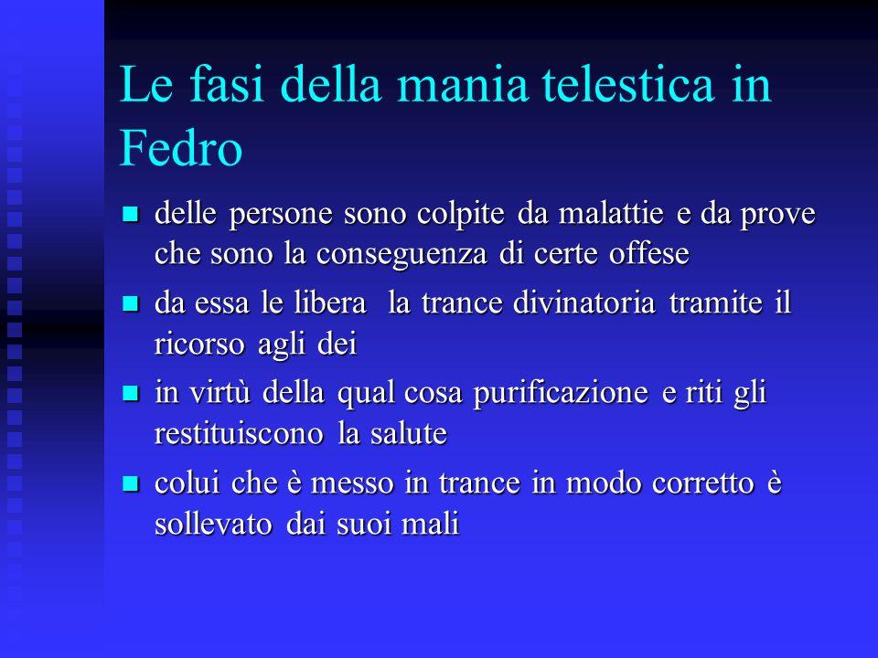 Le fasi della mania telestica in Fedro delle persone sono colpite da malattie e da prove che sono la conseguenza di certe offese delle persone sono co