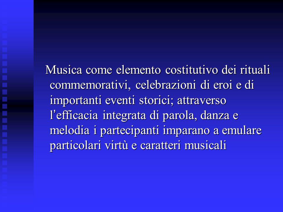 Musica come elemento costitutivo dei rituali commemorativi, celebrazioni di eroi e di importanti eventi storici; attraverso l ' efficacia integrata di