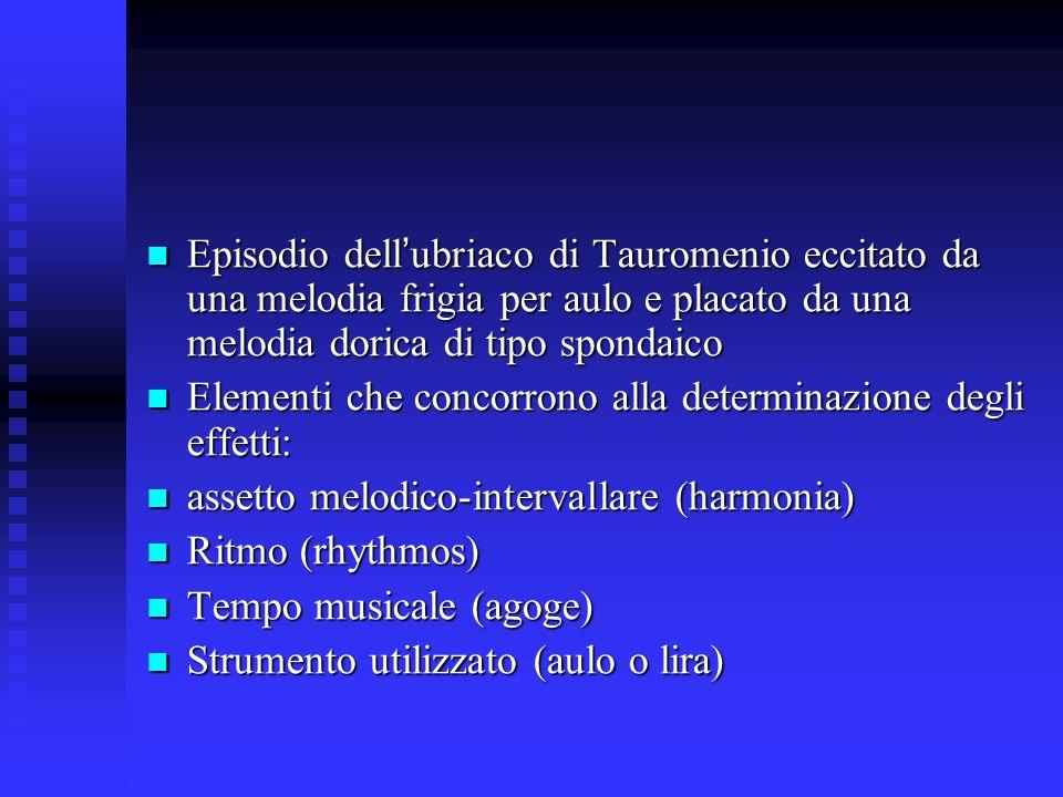 Episodio dell ' ubriaco di Tauromenio eccitato da una melodia frigia per aulo e placato da una melodia dorica di tipo spondaico Episodio dell ' ubriac