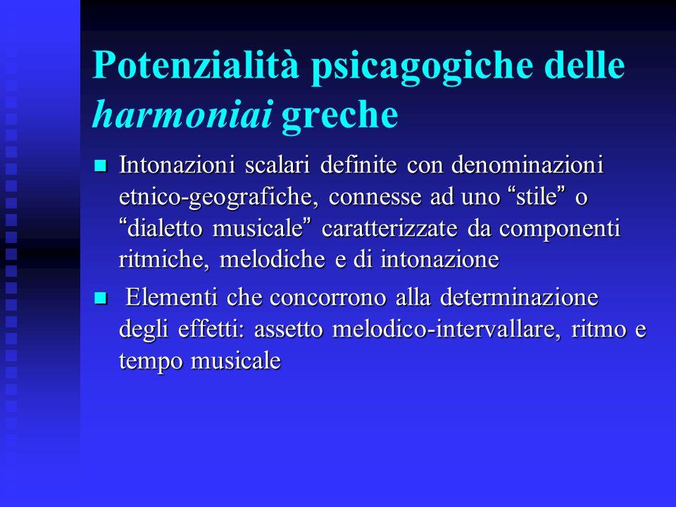 """Potenzialità psicagogiche delle harmoniai greche Intonazioni scalari definite con denominazioni etnico-geografiche, connesse ad uno """" stile """" o """" dial"""