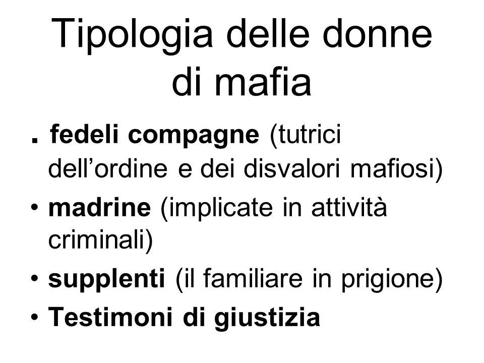 Tipologia delle donne di mafia. fedeli compagne (tutrici dell'ordine e dei disvalori mafiosi) madrine (implicate in attività criminali) supplenti (il