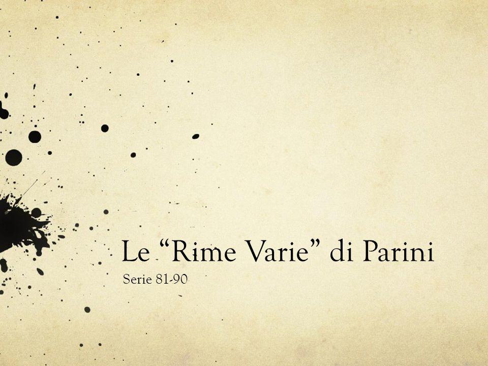 Le Rime Varie di Parini Serie 81-90