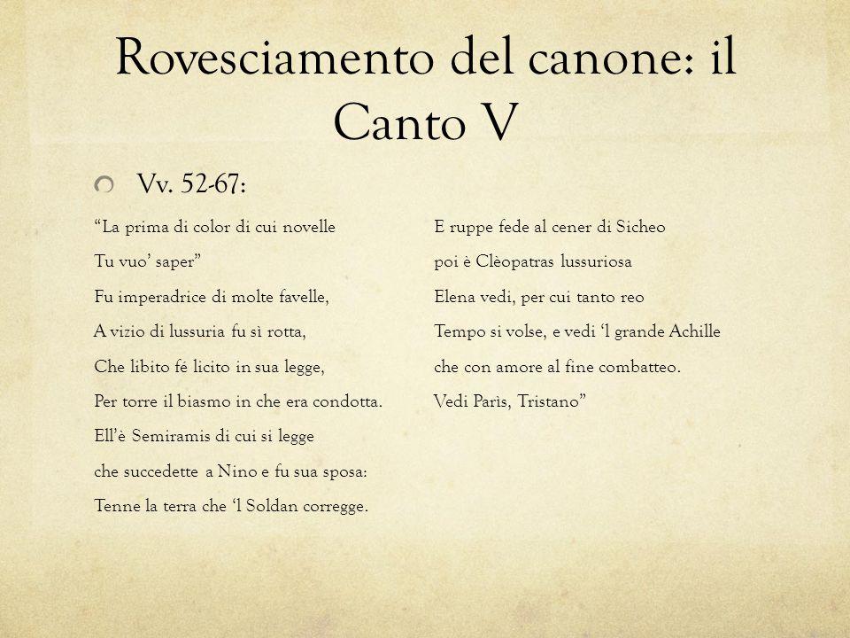 Rovesciamento del canone: il Canto V Vv.