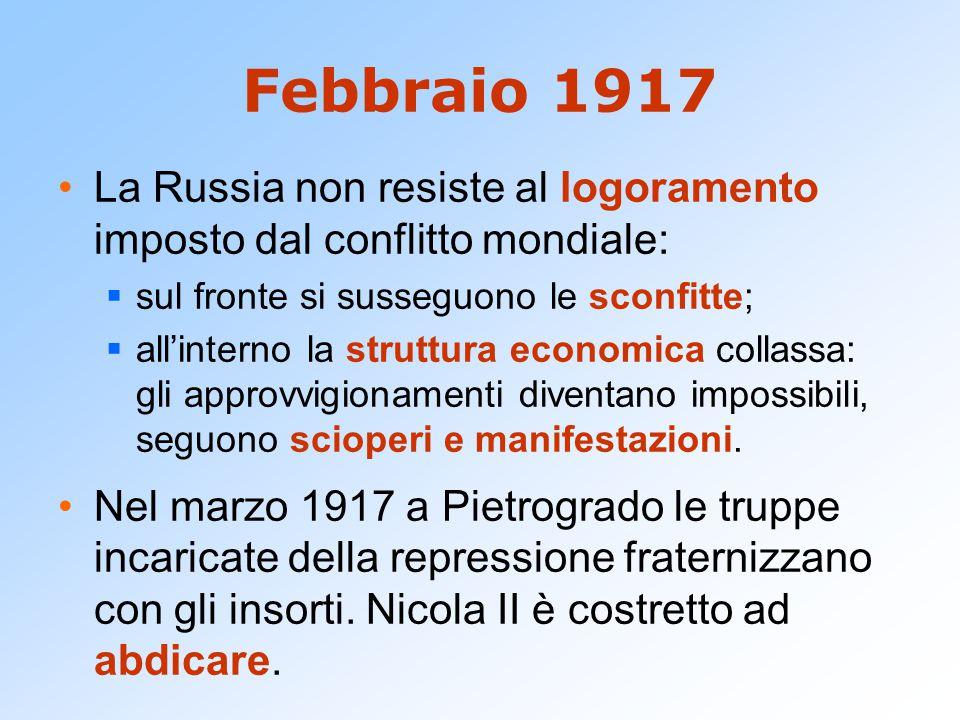 Febbraio 1917 La Russia non resiste al logoramento imposto dal conflitto mondiale:  sul fronte si susseguono le sconfitte;  all'interno la struttura