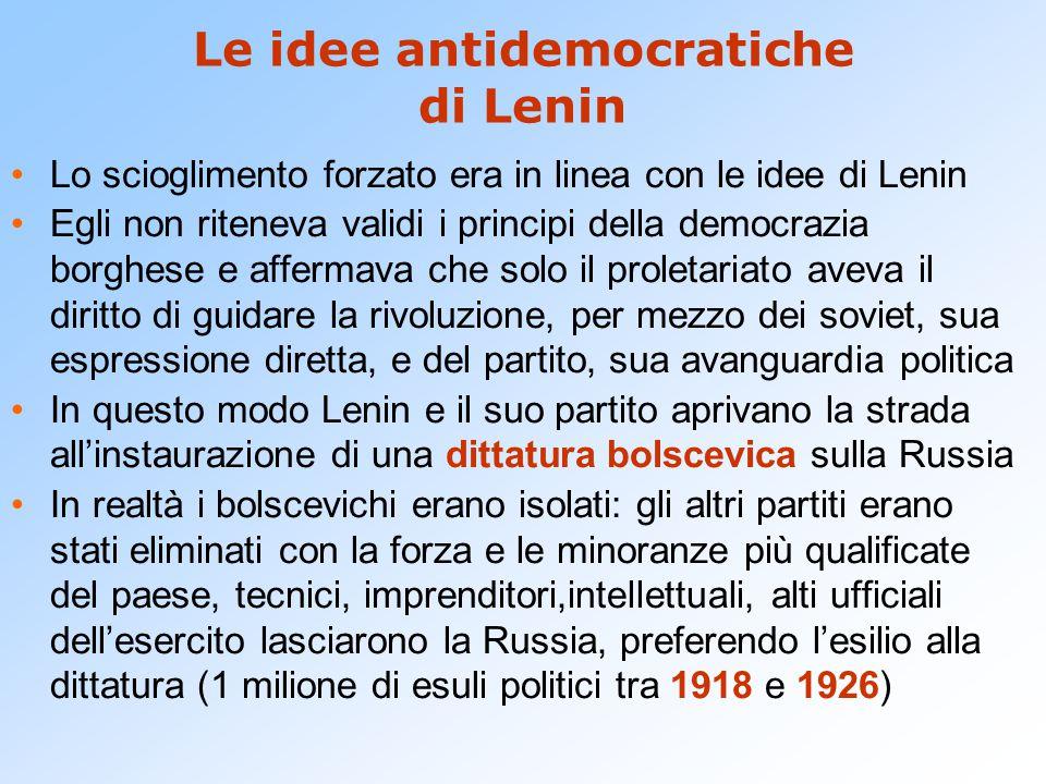 Le idee antidemocratiche di Lenin Lo scioglimento forzato era in linea con le idee di Lenin Egli non riteneva validi i principi della democrazia borgh