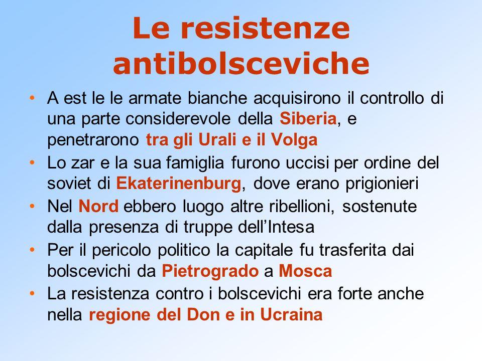 Le resistenze antibolsceviche A est le le armate bianche acquisirono il controllo di una parte considerevole della Siberia, e penetrarono tra gli Ural