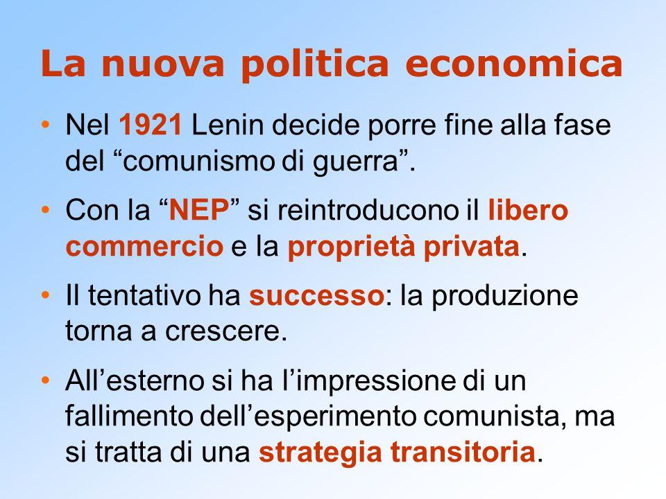 """La nuova politica economica Nel 1921 Lenin decide porre fine alla fase del """"comunismo di guerra"""". Con la """"NEP"""" si reintroducono il libero commercio e"""
