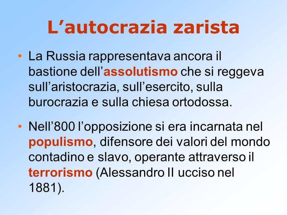 L'autocrazia zarista La Russia rappresentava ancora il bastione dell'assolutismo che si reggeva sull'aristocrazia, sull'esercito, sulla burocrazia e s