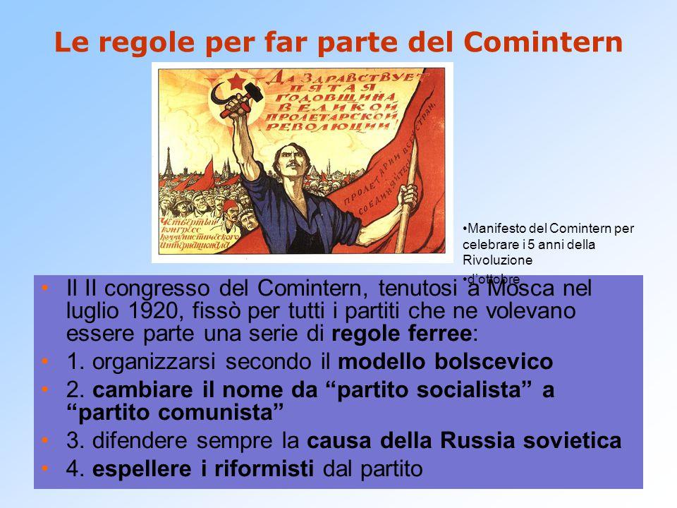 Le regole per far parte del Comintern Il II congresso del Comintern, tenutosi a Mosca nel luglio 1920, fissò per tutti i partiti che ne volevano esser