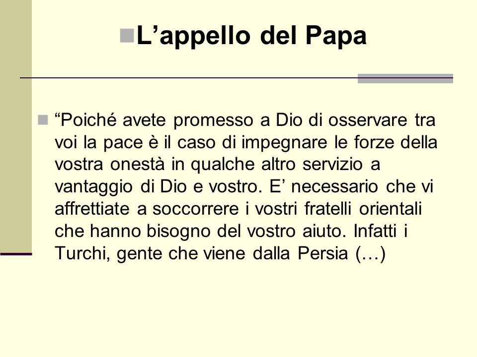 """L'appello del Papa """"Poiché avete promesso a Dio di osservare tra voi la pace è il caso di impegnare le forze della vostra onestà in qualche altro serv"""