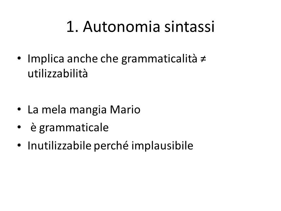 1. Autonomia sintassi Implica anche che grammaticalità ≠ utilizzabilità La mela mangia Mario è grammaticale Inutilizzabile perché implausibile