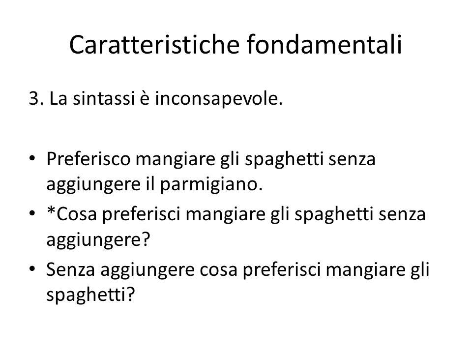 3. La sintassi è inconsapevole. Preferisco mangiare gli spaghetti senza aggiungere il parmigiano. *Cosa preferisci mangiare gli spaghetti senza aggiun