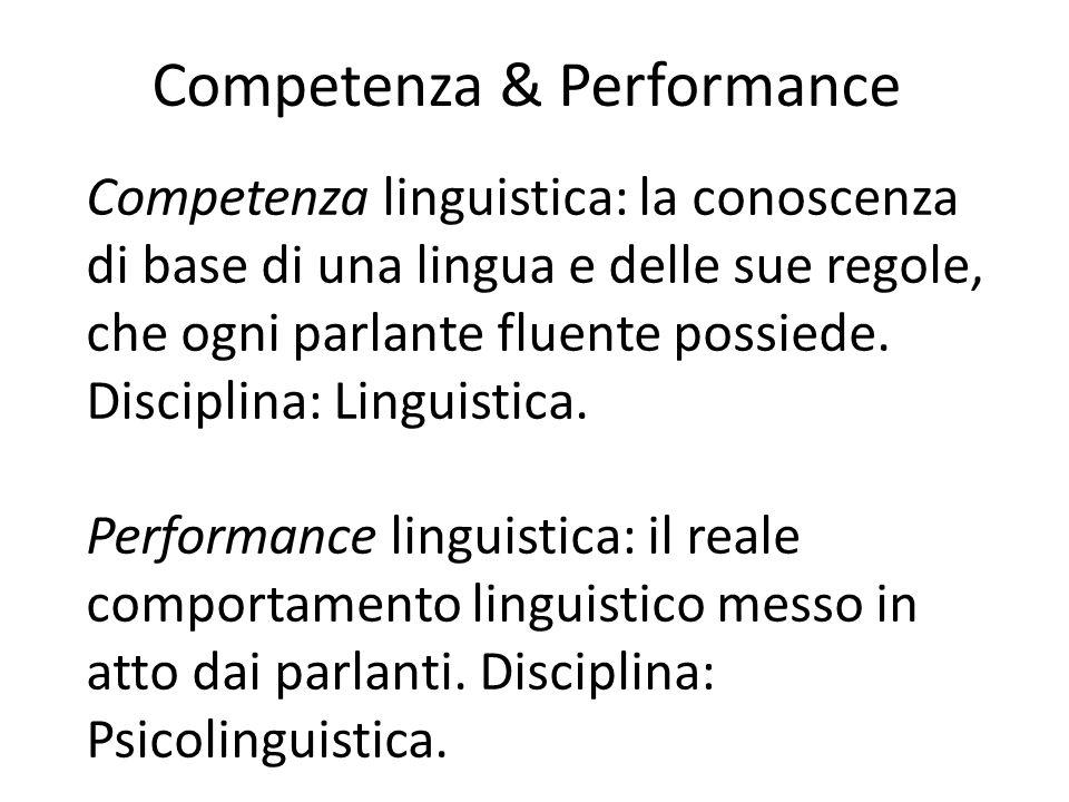 Competenza & Performance Competenza linguistica: la conoscenza di base di una lingua e delle sue regole, che ogni parlante fluente possiede. Disciplin