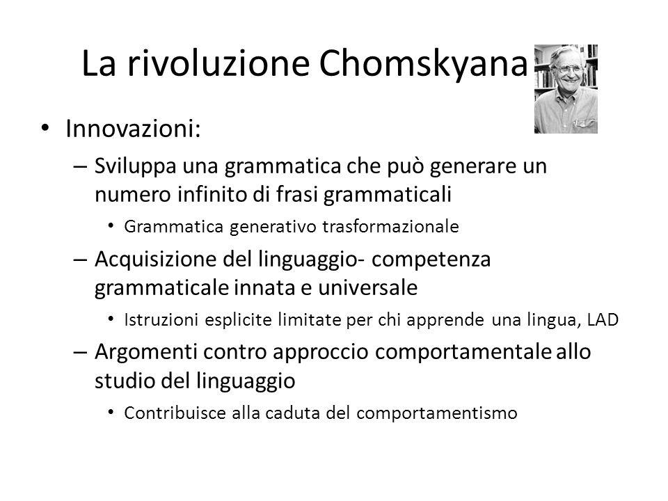 La rivoluzione Chomskyana Innovazioni: – Sviluppa una grammatica che può generare un numero infinito di frasi grammaticali Grammatica generativo trasf