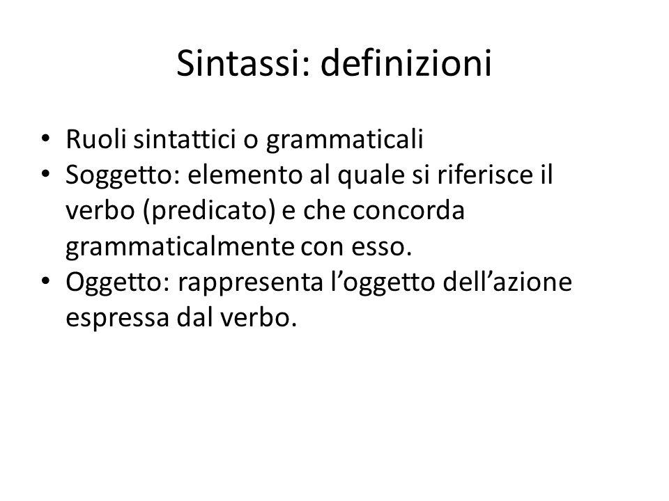 Ruoli sintattici o grammaticali Soggetto: elemento al quale si riferisce il verbo (predicato) e che concorda grammaticalmente con esso. Oggetto: rappr