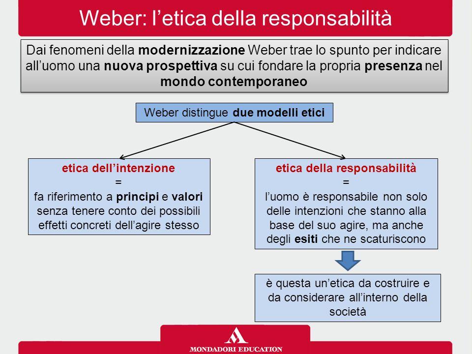 Weber: l'etica della responsabilità Dai fenomeni della modernizzazione Weber trae lo spunto per indicare all'uomo una nuova prospettiva su cui fondare