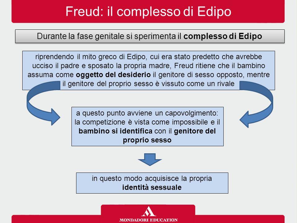 Freud: il complesso di Edipo Durante la fase genitale si sperimenta il complesso di Edipo riprendendo il mito greco di Edipo, cui era stato predetto c