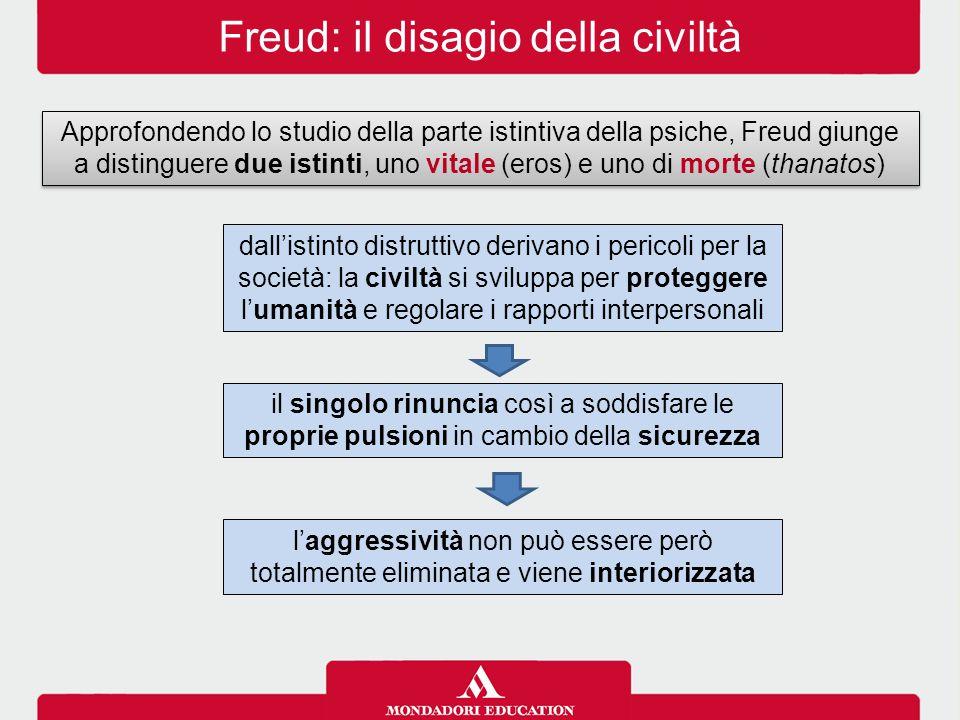 Freud: il disagio della civiltà Approfondendo lo studio della parte istintiva della psiche, Freud giunge a distinguere due istinti, uno vitale (eros)