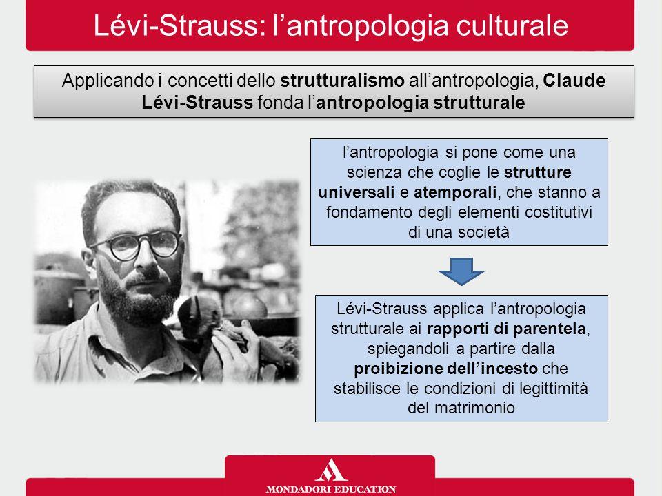 Lévi-Strauss: l'antropologia culturale Applicando i concetti dello strutturalismo all'antropologia, Claude Lévi-Strauss fonda l'antropologia struttura