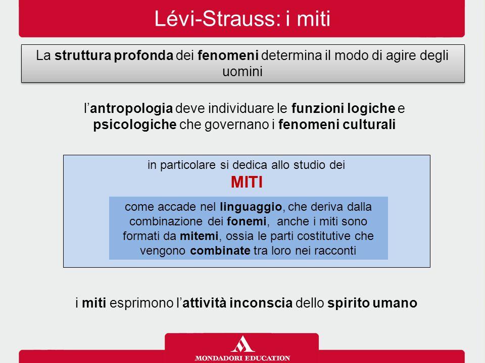 Lévi-Strauss: i miti La struttura profonda dei fenomeni determina il modo di agire degli uomini l'antropologia deve individuare le funzioni logiche e
