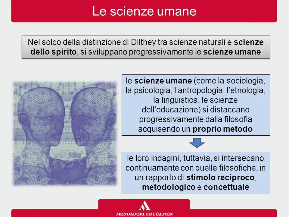 Le scienze umane Nel solco della distinzione di Dilthey tra scienze naturali e scienze dello spirito, si sviluppano progressivamente le scienze umane