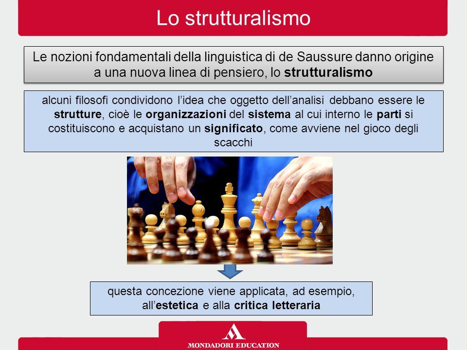 Lo strutturalismo Le nozioni fondamentali della linguistica di de Saussure danno origine a una nuova linea di pensiero, lo strutturalismo questa conce
