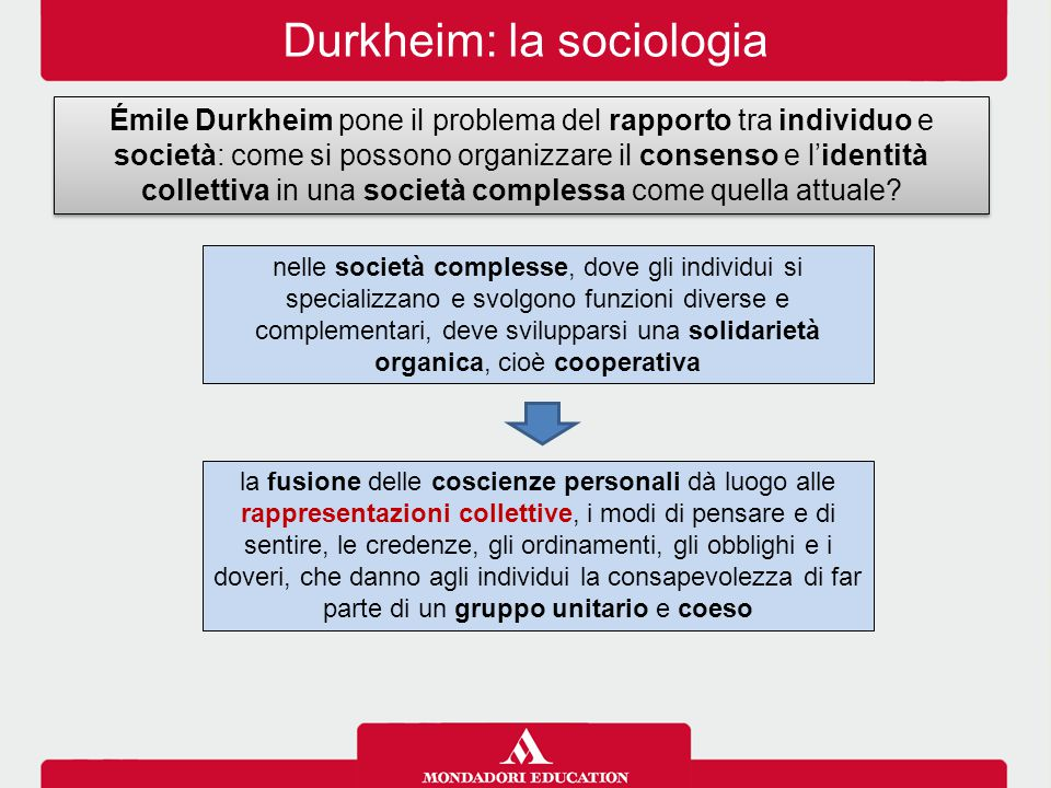 Durkheim: la sociologia Émile Durkheim pone il problema del rapporto tra individuo e società: come si possono organizzare il consenso e l'identità col