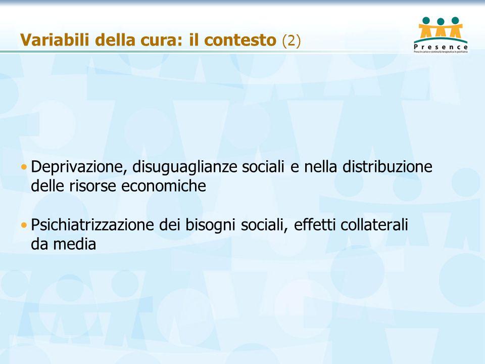 Variabili della cura: il contesto (2) Deprivazione, disuguaglianze sociali e nella distribuzione delle risorse economiche Psichiatrizzazione dei bisog