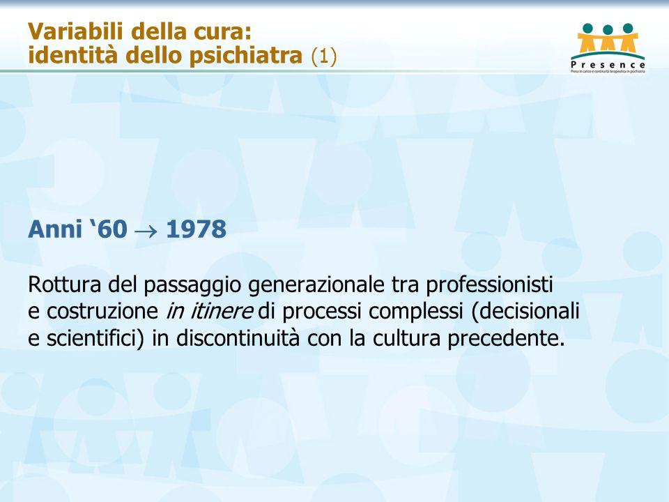 Variabili della cura: identità dello psichiatra (1) Anni '60  1978 Rottura del passaggio generazionale tra professionisti e costruzione in itinere di