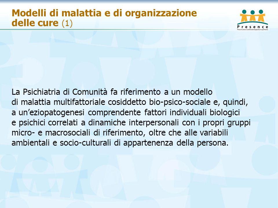Modelli di malattia e di organizzazione delle cure (1) La Psichiatria di Comunità fa riferimento a un modello di malattia multifattoriale cosiddetto b