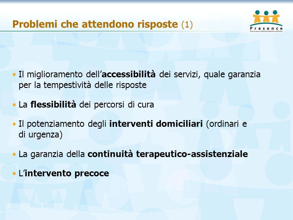 Problemi che attendono risposte (1) Il miglioramento dell'accessibilità dei servizi, quale garanzia per la tempestività delle risposte La flessibilità