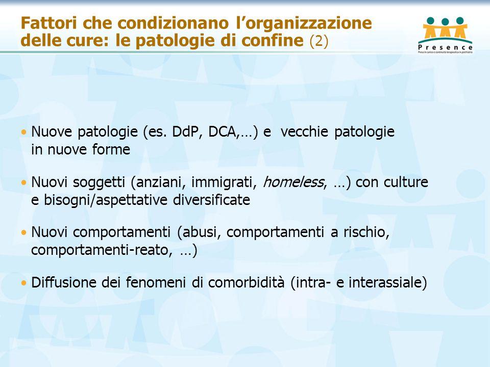 Fattori che condizionano l'organizzazione delle cure: le patologie di confine (2) Nuove patologie (es. DdP, DCA,…) e vecchie patologie in nuove forme