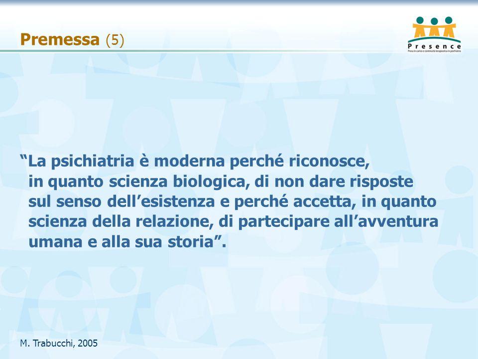 """Premessa (5) M. Trabucchi, 2005 """"La psichiatria è moderna perché riconosce, in quanto scienza biologica, di non dare risposte sul senso dell'esistenza"""