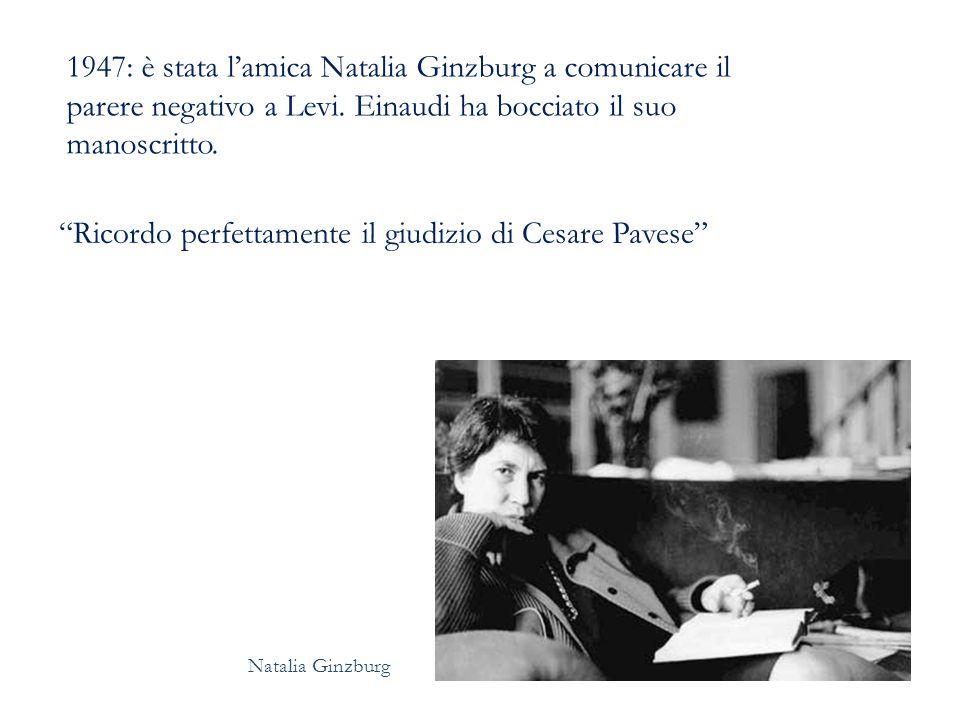 1947: è stata l'amica Natalia Ginzburg a comunicare il parere negativo a Levi.