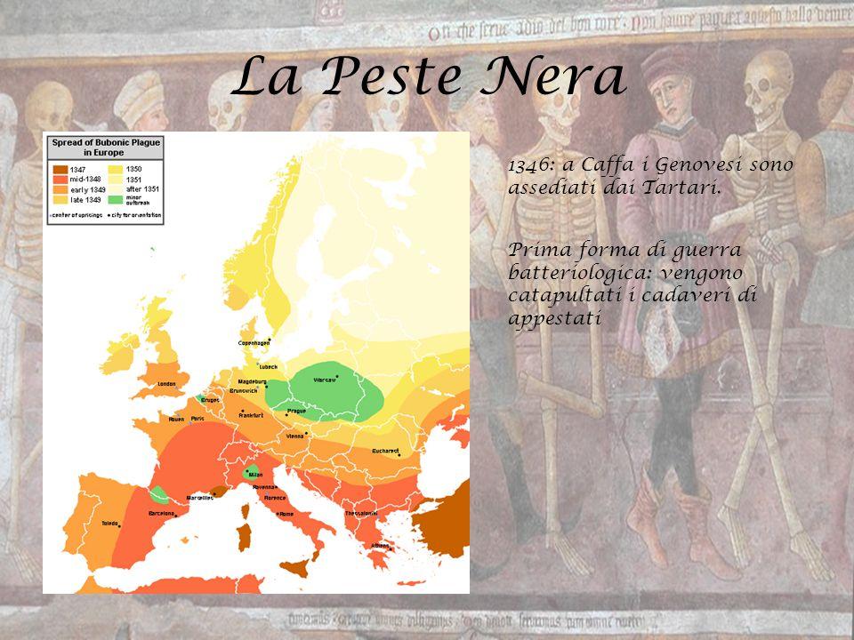 La Peste Nera 1346: a Caffa i Genovesi sono assediati dai Tartari. Prima forma di guerra batteriologica: vengono catapultati i cadaveri di appestati