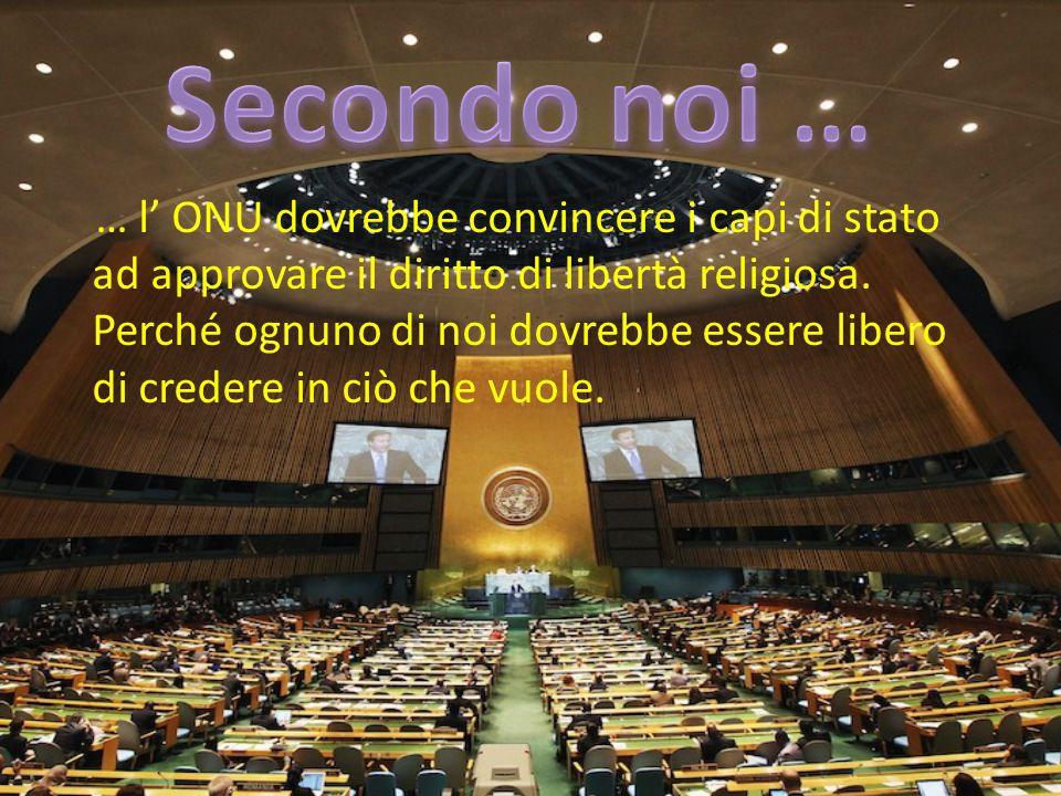 … l' ONU dovrebbe convincere i capi di stato ad approvare il diritto di libertà religiosa. Perché ognuno di noi dovrebbe essere libero di credere in c